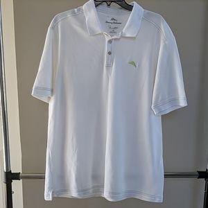 Tommy Bahama  white Polo short sleeve shirt L